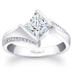 Barkev's 14K White Gold Princess Cut Diamond Tension Twist Half Bezel Set Engagement Ring Featuring 0.10 Carats Round Cut Diamonds Style 7840L