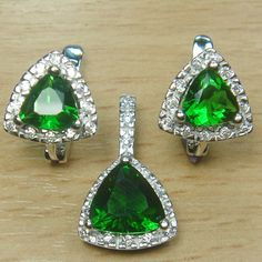 Trillion Cut Emerald Green White CZ 925 Sterling Silver Cocktail Jewelry Set