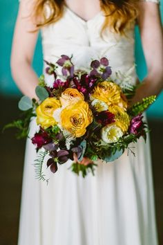 Yellow Marsala wedding bouquet ferns