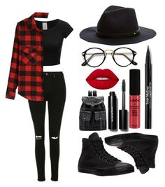 """""""Red and Black!!!"""" by theanonymousme ❤ liked on Polyvore featuring Topshop, Trish McEvoy, NYX, Bobbi Brown Cosmetics and Converse"""