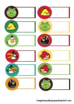 Angry Birds Etiquetas Grandes Para Cuadernos