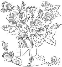 vintage flowers embroidery or redwork  june