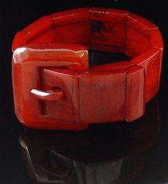 1930's BAKELITE deep amber BIG carved buckle bangle bracelet
