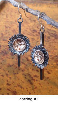 Stunning Mokume Gane earrings by Alex Horst.