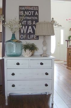 dresser as a console table decorating