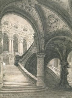The Staircase Of The Paris Opera House Drawing - The Staircase Of The Paris Opera House Fine Art Print Classic Architecture, Historical Architecture, Beautiful Architecture, Architecture Details, Architecture Art, Staircase Drawing, Paris Opera House, Architecture Sketchbook, Chef D Oeuvre