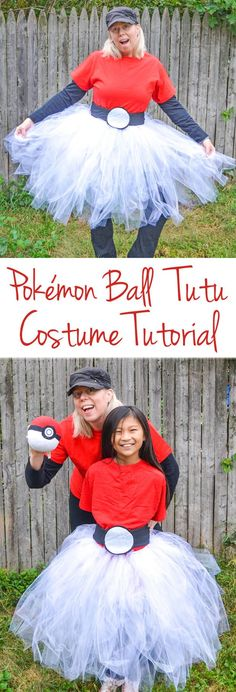 Pokemon Ball Tutu Costume - Create this Pokémon Ball Tutu Costume for Halloween or when you play Pokémon GO. #Pokemon #costume