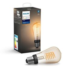 With an elongated design and vintage feel, this Bluetooth-capable LED Edison bulb featuring a coiled filament can make a statement in any room. Use with Bluetooth controls or pair with a Hue Bridge to unlock more smart lighting features. Edison Lampe, Led Lampe, Bluetooth, Mood Light, Light Bulb, Amazon Echo, Microsoft Cortana, Led Cob, Led Lamp