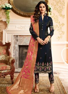 Blue and Gold Embroidered Straight Pant Suit 1