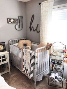 Farmhouse Styled Nursery/Guest Room Combo.  Combination spare room and nursery.  Designed by Jennifer Boyd Designs.
