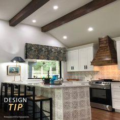 Covered in a patterned tile, an island becomes a work of art! Bo Hutchison of A&B Cabinetry designed this space with 410 Painted Harbor and tons of creativity! #waypointlivingspaces #kitchencabinets #kitchenremodel #designtip #kitchendesign #kitcheninspiration #kitchenrenovation #backsplash #kitchenstyle @abcabinetsupply Painting Cabinets, Backsplash, Kitchen Remodel, Kitchen Design, Living Spaces, Kitchen Cabinets, Tips, Design Of Kitchen, Cabinets