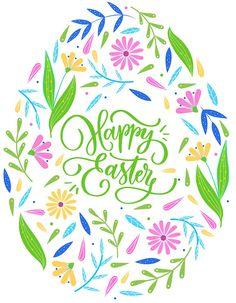'Happy easter floral egg- typography' Sticker by CacaoDesigns Easter Peeps, Easter Party, Happy Easter, Jesus Easter, Easter Games, Easter Dinner, Easter Brunch, Easter Fonts, Easter Printables