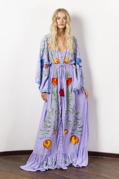 """""""Strange Magic"""" Women's embroidered duster - Lavender Fillyboo - Boho inspired maternity clothes online, maternity dresses, maternity tops and maternity jeans. Maternity Clothes Online, Maternity Tops, Maternity Dresses, Maternity Jeans, Maxi Dresses, Goddess Dress, Lilac Dress, Spaghetti Strap Dresses, Bohemian Style"""