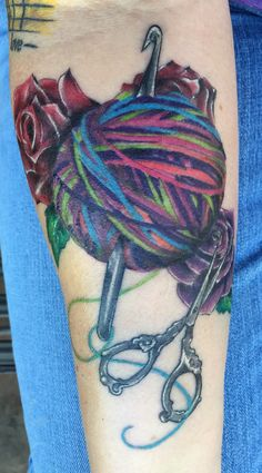 My new crafty tattoo of yarn ball, crochet hook and antique scissors with roses.   Custom ink work completed by Randy Allan of The Ink Hand Tattoo and Art Gallery in Sanger, Texas.    March 23rd, 2015