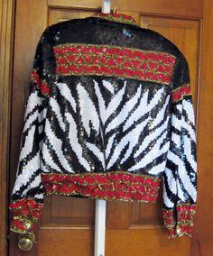 glam CACHE sequin jacket zebra stripe black red gold S trophy statement sequence #Cach #SequinJacket