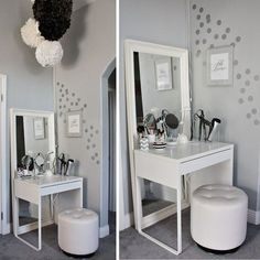 Lots of HomeGoods finds in this beautiful dressing area & vanity makeover!