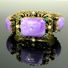 Vintage Clamper Bracelet Gold Tone Floral Setting Purple Lucite Green Rhinestone and Seed Pearls