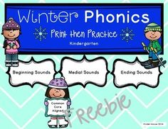 This is a freebie showing some of the pages you will find in the complete Kindergarten Winter Phonics Print then Practice.  Included you will find practice for beginning, middle and ending sounds in CVC and other longer words. There are over 50 interactive pages for students to practice identifying and producing the sounds.