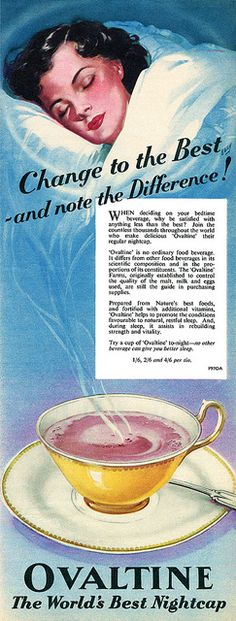 Old Ovaltine ad. My mom could never get me to drink milk because I didn't like it. She tried giving me Ovaltine, which I hated even more (LOL) Pub Vintage, Vintage Signs, Vintage Food, Vintage Stuff, Retro Recipes, Vintage Recipes, Vintage Pictures, Vintage Images, Ovaltine
