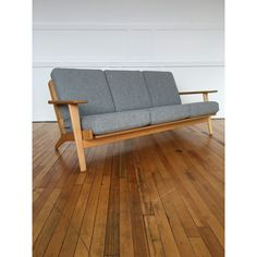 Mid Century Danish Oak Plank Sofa Model GE-290 by Hans Wegner for Getama in Kvadrat Wool