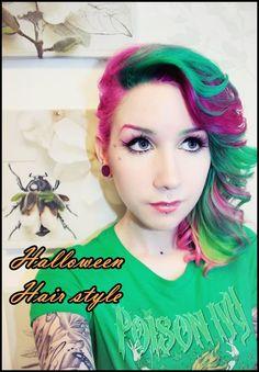 DIY Halloween Hairstyles Rainbow dyed ombre hair