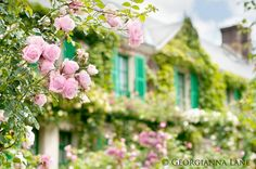 French Country Fine Art Photograph TITLE: Maison de Monet Taken on a glorious June afternoon at Monets Garden at Giverny, France, when the Sleeping Room Design, Monet Garden, Blue Shutters, France Photography, Travel Photography, France Photos, Claude Monet, Beautiful Gardens, Beautiful Roses
