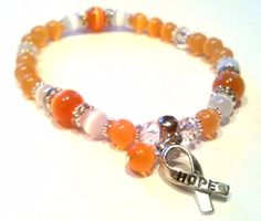 Our MS Cycle race is a famous annual event. Orange  Awareness Stretch Bracelet  for Multiple Sclerosis and Leukemia with  Donation. $15.00, via Etsy.