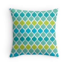 Aqua Blue and Lime Green Quatrefoil Eastern Moroccan Pattern Print Throw Pillow. Perfect for outdoor seating areas and poolside soft furnishings