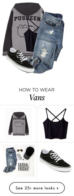"""Untitled #2160"" by samanthay7 on Polyvore featuring Pusheen and Vans"