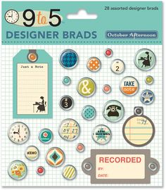 9 to 5 scrapbooking collection | by October Afternoon | ACCESSORIES | Designer Brads