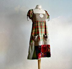 Plaid Hippie Dress Bohemian Clothes Women's Sundress Olive Green Boho Patchwork Eco Friendly Babydoll Dress Upcycled Clothing M/L 'REAH'
