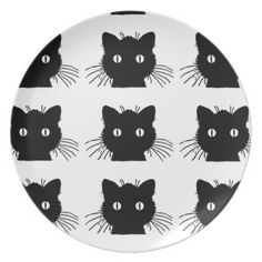Black Cat Plate. Watch for our great sales each day & week! Great for Halloween party! : )