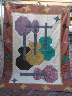 Guitar Quilt from Tandunn | Check out patterns on Craftsy!
