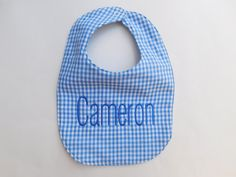 Blue Baby Bib Personalized - pinned by pin4etsy.com
