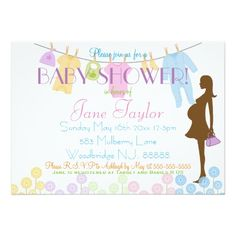 Baby Clothesline and Silhouette Baby Shower 5x7 Paper Invitation Card