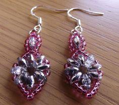 Silver & Pink Oval Glass Super Duo Beaded Dangle Earrings on Silver Ear Hooks