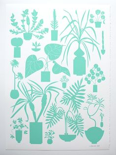 Crown of Thorns and potted Palms, Orchid Cacti and Pilea, these are a few of the many house plants in our newest screen print, all in a pastel neon...