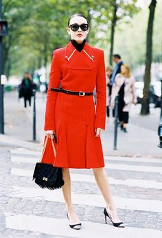 Red coat dress, fancy bag, and chic heels – bam outfit done. x