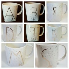 NEW Anthropologie Letter Coffee Mug Cup Gilded Gold Speckled - PICK YOUR LETTER | eBay Gold Gilding, I Love Coffee, Unique Home Decor, Mug Cup, Decorative Accessories, My Ebay, Coffee Mugs, Anthropologie, Lettering