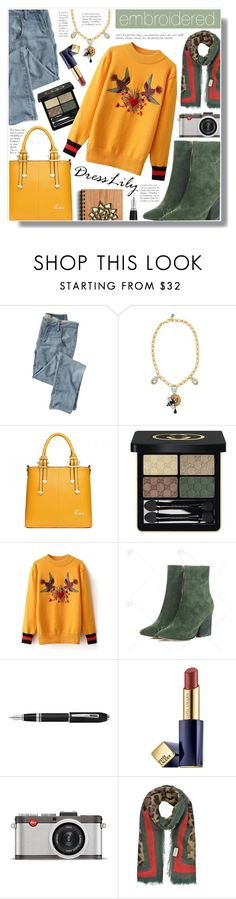 """""""Dresslily"""" by becky12 ❤ liked on Polyvore featuring Wrap, Dolce&Gabbana, Gucci, Fountain, Estée Lauder and Leica"""