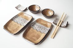 Rustic Sushi Set, 6 Pieces Serving Set for 2, Sushi Dish, Ceramic Tableware, Serving Sushi, Sushi Plate, Ceramics and Pottery, Home & Living on Etsy, Sold