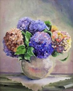 Art2Arts Artist: Elizabeth Williams, Hydrangeas on White Lace (FRAMED) £395