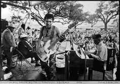 Roosevelt Sykes, B.B. King, Bukka White, George Porter Jr. and Professor Longhair at the 1973 New Orleans Jazz & Heritage Fest.