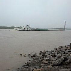 Barge on a high Mississippi River; photo courtesy daenelt on Instagram. @Daenel T {Living Outside the Stacks}