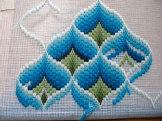 Ribbon Embroidery Flowers by Hand - Embroidery Patterns Broderie Bargello, Bargello Needlepoint, Bargello Quilts, Ribbon Embroidery, Cross Stitch Embroidery, Embroidery Patterns, Cross Stitch Patterns, Hardanger Embroidery, Bargello Patterns