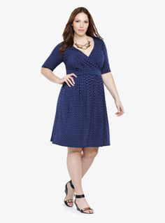 We're loving polka dots this season (they're fun and flirty with just a hint of retro style), so we spotted this navy little number with the print. The playful skirt has pockets - so we think it deserves a prominent place in your closet!