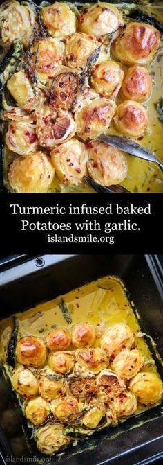 Turmeric infused baked Potatoes with garlic is an ideal dish to try, with all its goodness to keep you warm and healthy this fall. Gluten-free, vegan and vegetarian.