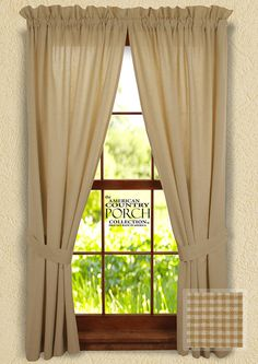 Cottage Wheat Minicheck Tieback Curtain Panels