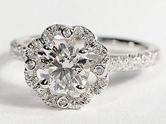 Scalloped Halo Diamond Engagement Ring in 14k White Gold
