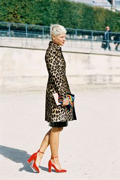 leopard print coat + red heels